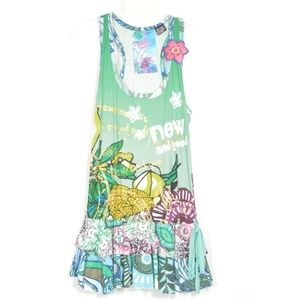 Desigual dress SZ M mini sleeveless racer back gre